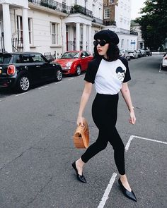 Get this look: http://lb.nu/look/8842867  More looks by Gabrielle Dominique: http://lb.nu/gabrielledominique1  Items in this look:  Betty Rat Bag  Stay Strong Mama   #chic #vintage #highwaist #streetstyle #black #parisian #beret #90s #sunglasses