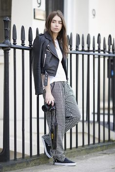 Slouchy checked pants, slip on sneakers and a leather jacket. It just makes sense! #streetstyle #lookbook