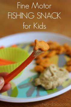 Fine motor fishing snack for kids