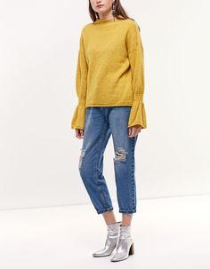 Flared sleeve jersey - Knitwear   Stradivarius Other Countries