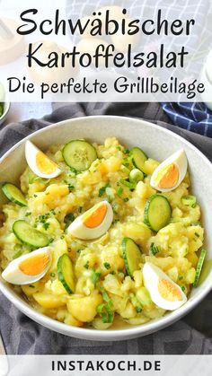 Swabian potato salad - simply delicious without mayo - F .- Schwäbischer Kartoffelsalat – einfach lecker ohne Mayo – Feelgoodfoodandmore … Swabian potato salad – simply delicious without mayo – Feelgoodfoodandmore │ All my cooking recipes - Salad Recipes Healthy Lunch, Salad Recipes For Dinner, Chicken Salad Recipes, Lunch Recipes, Healthy Chicken, Mayonnaise, Grilled Side Dishes, Party Salads, Creamy Cucumber Salad