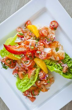 Tiger Prawn and Lobster Salsa Salad - Sharp, strong flavours and beautifully firm shellfish, what a treat! Fish Recipes, Seafood Recipes, Salad Recipes, Great Recipes, Cooking Recipes, Favorite Recipes, Healthy Recipes, Uk Recipes, Healthy Meals
