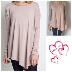 "❄️️Sale❄️ Mauve Asymmetrical Top Large This is a cute mauve asymmetrical top. Wear with leggings or skin jeans.. This is not a see through top (I have a bright red bra on).  This is a cotton polyester blend top. Fit is true to size (women's sizes). I'm wearing a small in the pictures (5'7"" and I wear a size 6) for comparison. Listing is for a Large. Tops"