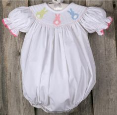 Smocked Bubble with Pastel Bunnies from Smocked Auctions