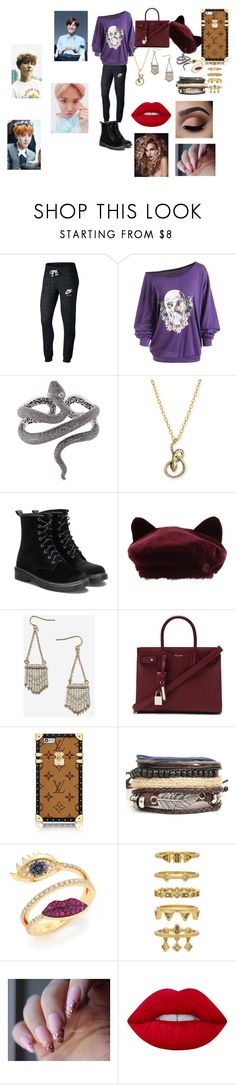"""""""BTS Hoseok"""" by btsloveforlife ❤ liked on Polyvore featuring NIKE, Lydia Courteille, Albert Malky, Maison Michel, Topshop, Yves Saint Laurent, Delfina Delettrez, Luv Aj and Lime Crime"""
