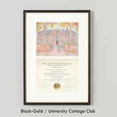 University Cottage Club, Princeton University Diploma Frame