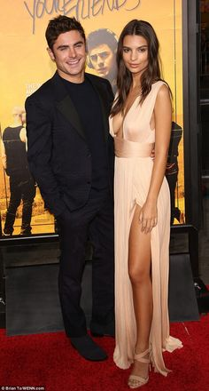 Costars: Actress Emily Ratajkowski showed off her long legs in a daring dress on the red carpet
