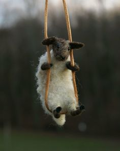 needle felted sheep necklace. by Motley Mutton