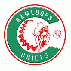 The logo for the Kamloops Chiefs, a hockey team that played in the WCHL Hockey Logos, Ice Hockey Teams, Canada Hockey, Western Canada, Sports Clubs, Sports Logo, Art Logo, Seattle Washington, British Columbia