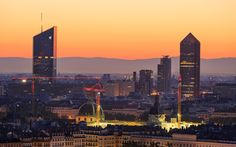From Dusk till Dawn - Towers of Part-Dieu, the business district of Lyon, and…