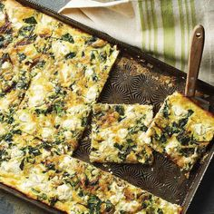 Slab Quiche with Spinach, Goat Cheese, and Caramelized Onions - # Brunch Recipes, Breakfast Recipes, Breakfast Ideas, Quiche Recipes, Brunch Foods, Breakfast Buffet, Savory Breakfast, Savoury Recipes, Brunch Ideas