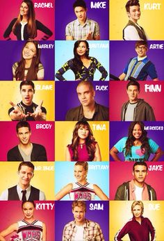 The Glee cast: Rachel, Mike, Kurt, Marley, Santana, Artie, Blaine, Puck, Finn ,Brody, Tina, Mercedes, Mr.Shue, Brittany, Jake, but where's Ryder??