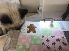 Kitty cat and sewing - free Gingerbread Village block of the month