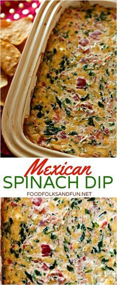 If you love spinach dip and Mexican food then you'll LOVE my Mexican Spinach Dip! It's a tasty Super Bowl recipe! If you love spinach dip and Mexican food then you'll LOVE my Mexican Spinach Dip! It's a tasty Super Bowl recipe! Appetizer Dips, Yummy Appetizers, Mexican Food Appetizers, Mexican Snacks, Mexican Food For Party, Mexican Fiesta Food, Mexican Christmas Food, Mexican Potluck, Spinach Appetizers