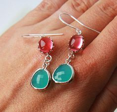 Jewel Silver Earrings  Silver Framed Ruby Glass by lilabelledesign