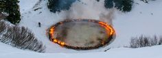 douglas gordon + morgane tschiember set enormous ring of fire ablaze in the swiss alps Douglas Gordon, Swiss Alps, Fire, Sculpture, Landscape, Decoration, Garden, Rings, Outdoor Decor
