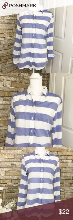 """Banana Republic Soft Wash Blue White Striped Shirt Cool colors on a light and comfortable shirt. Blue and white stripes. Long sleeves. Buttons down. Material 100% Cotton.    Size M    Measurements (laid flat) Armpit to armpit 19"""" Waist 18"""" Length 25.5""""   Condition Excellent preowned condition. No flaws noted. Banana Republic Tops Button Down Shirts"""