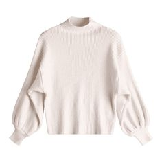 Lantern Sleeve Mock Neck Sweater Off-white ($17) ❤ liked on Polyvore featuring tops, sweaters, zaful, mock neck top, off white top, mock neck sweater, off white sweater and champagne top