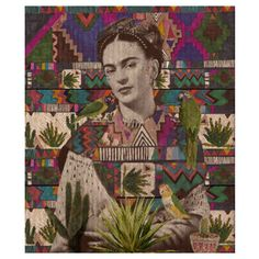 Frida Kahlo 500mm x 500mm Framed Print (230 BRL) ❤ liked on Polyvore featuring home, home decor, wall art, green home decor, tapestry wall art, inspirational wall art, parrot wall art and aztec wall art