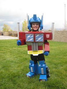 Blue gloves, boxes, black sweat pants, helmet, foam. Transformer Optimus Prime