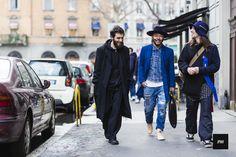"""Kiko Kostadinov, Motofumi """"Poggy"""" Kogi & Isaac Larose wearing Buscemi Stussy and Larose Paris during Milan Fashion Week Fall WInter 2015."""