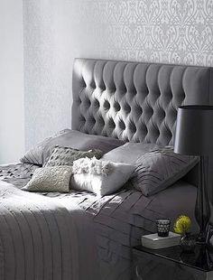 grey and chic bedroom/ headbroard