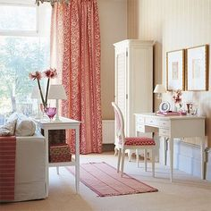 girly room with desk