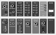 "Ploytec ""Pi L 2"" PL2 mini synthesizer modular view"