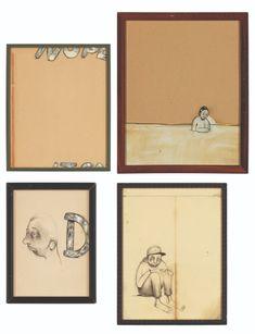 バリー・マッギー 紙にインク, 黒鉛, 油彩, 糸, アーティストフレーム 《無題(4作品)》 Barry Mcgee, Gallery Wall, Frame, Picture Frame, Frames