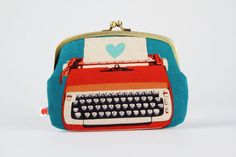 Maxi siamese  Typewriters in red  double metal frame by octopurse, $37.10