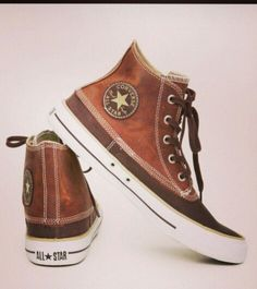 Men's Fashion Converse All Star, Converse Style, Converse Sneakers, Brown Leather Converse, High Top Sneakers, Leather Shoes, Shoe Boots, Sock Shoes, Men's Shoes