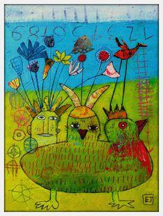 Elke Trittel acrylics,collage on board 30/40cm