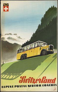 Switzerland. Alpine postal motor coaches by Boston Public Library, via Flickr