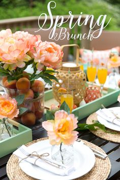Tablescapes | Brunch | Style a gorgeous Peach & Mint Spring Brunch! All items from Target!