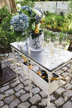 table with lots of bubbly