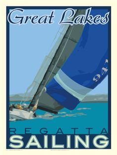 http://www.martensprintworks.com  Image of Great Lakes Regatta 18x24 Print No. [021]