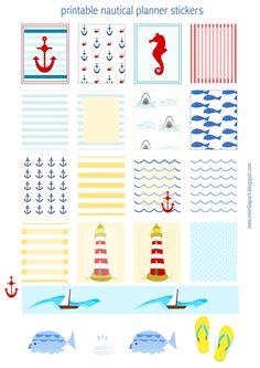 FREE printable nautical EC planner stickers | #summerstickers #plannerstickers