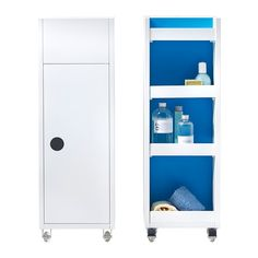 KLAMPEN Cart IKEA Easy to move around with the included casters.  Perfect in a small bathroom.  Maybe to hold kids bath toys?