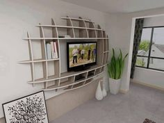 Mounted TV stand with built in storage. Cool idea.