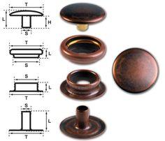 15 Sets Metal Snap Fastener Button, Rapid Rivet Button, Press Snap Button, 14 mm, Brass, Copper-Antique, Nickel Free
