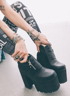 Checkout @julietsimms's closet at Dolls Kill.  Hacker Boot  www.dollskill.com/Juliet  #DollsKill CurrentMood #boots #punk #grunge #warpedtour #JulietSimms