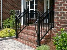 Looking for Iron Railings or Deck Railings? Contact us for iron railing porch, wrought iron railings and handrails, deck iron railings & much more! Porch Step Railing, Wrought Iron Porch Railings, Rod Iron Railing, Porch Railing Designs, Outdoor Stair Railing, Iron Handrails, Front Porch Steps, Deck Railings, Balcony Railing