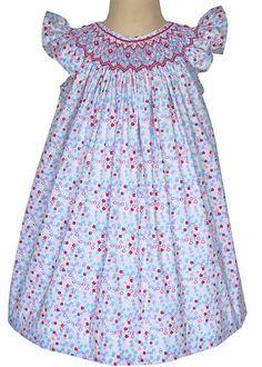 Celine is a Hand Smocked Floral Summer Bishop Dress for Girls – Carousel Wear