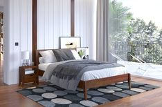 This bed frame is a timeless, elegant and solidly made wooden bed. A simple or even minimalist headrest gives it uniqueness and timelessness and high Bedroom Inspo, Outdoor Furniture, Outdoor Decor, Bed Frame, Studio, Solid Wood, Simple, Design, Plus Belle