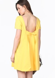 Yellow Short Sleeve Backless Bow Mini Dress - Sheinside.com