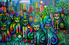 'Metropolitan cats ( Out on the town )' by karincharlotte on DeviantArt♥༺❤༻♥