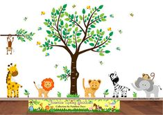 Safari Jungle Decals Tree, Monkey, Lion, Giraffe, Tiger, Zebra, Tree, Owl, Branch, Elephant, Reusabl Nursery Stickers, Nursery Wall Decals, Wall Stickers, Bird Nursery, Church Nursery, Owl Bird, Tiger, Zoo Animals, Safari