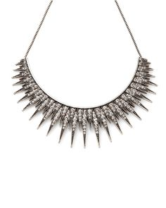 Silver oxidized pave spiked starburst necklace with crystals