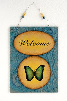 Blue Welcome Wall hanging Sign for Your Home with by Lisa Agaran, $40.00