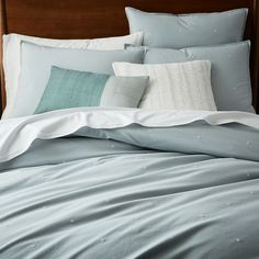 Organic Washed Cotton Quilt Cover + Pillowcases - Dusty Mint | west elm AU
